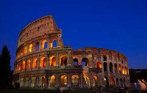 Blue hour ancient roman architecture colosseum rome hd